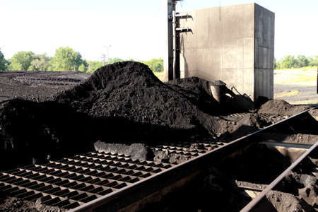 Pile of Sub-Bituminos Coal on the Grates of a Pulverizer Stock Photo