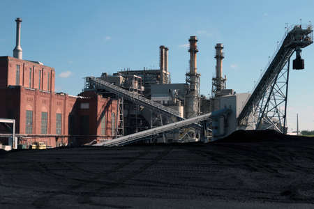 A Coal Fired Power Plant With Coal Yard