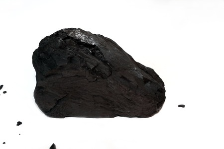 coal fired: One Piece of Sub-Bituminous Coal on White
