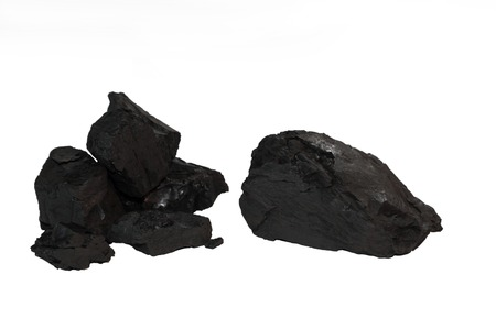 Chunks of Coal Isolated on White