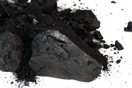 Pile of Sub-Bituminous Coal on White Background