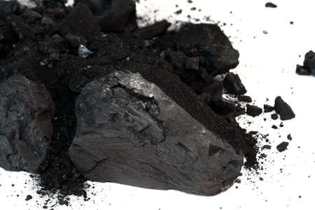 Pile of Sub-Bituminous Coal on White Background