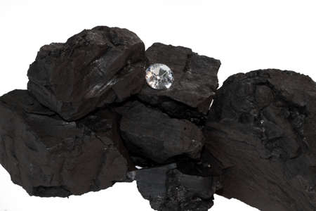 coal fired: Coal and Diamond on White Background Stock Photo