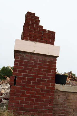 Last Bricks Remaining After Building Demolition Stock Photo