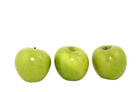 Three Green Granny Smith Apples Isolated On White