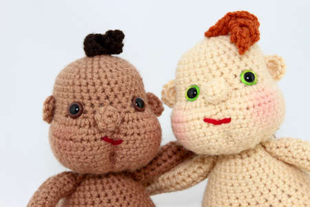 handcrafted: Two Handcrafted Baby Dolls Close-Up