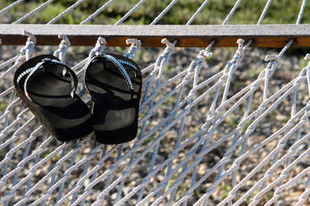 Women?s Sandals, With Rhinestones, On A White Hammock
