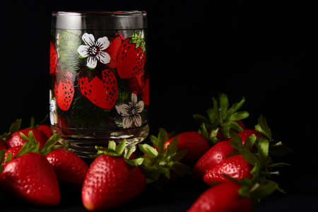 Still Life With Juice Glass And Strawberries