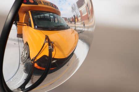 Yellow School Bus In Mirror