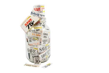 Grocery Coupons In A Glass Jar