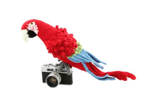 Gehaakte Papegaai op Vintage Camera