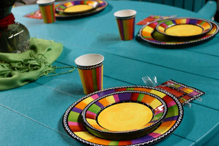 Patio Table Set For A Party Stock Photo