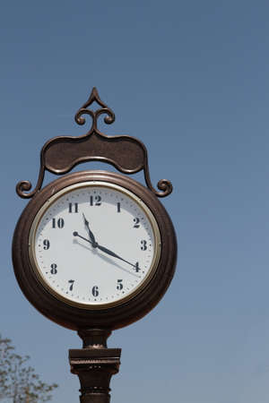 Large Vintage Clock Outdoors Stock Photo