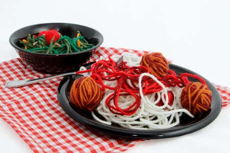 Artificial Food Spaghetti Dinner Created With Yarn