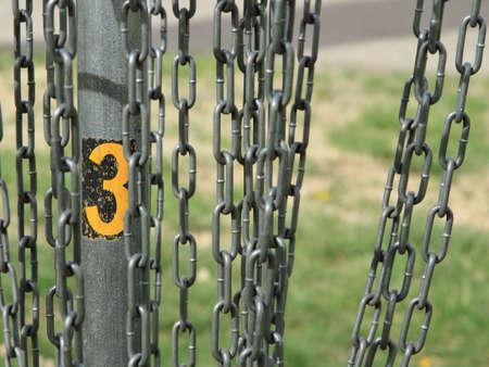 Disc Golf Target Nummer Drie CloseUp Stockfoto