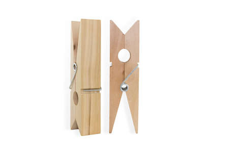 oversized: Two Oversized Clothespins Isolated On White