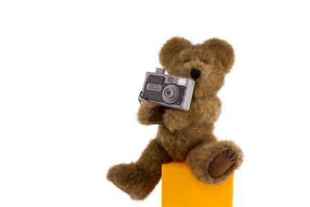 Teddy Bear With Digital Camera Stock Photo