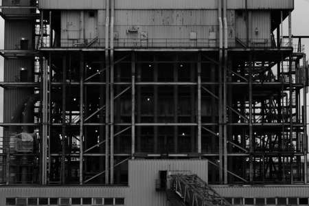 worksite: Industrial Worksite In Black And White Stock Photo
