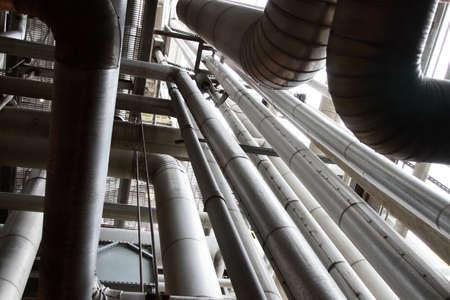 Industrial Pipes Reaching Upwards  Horizontal