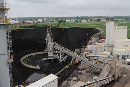 Busy Coal Yard At Power Plant