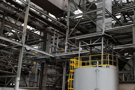Heavy Steel Construction At Power Plant Stock Photo