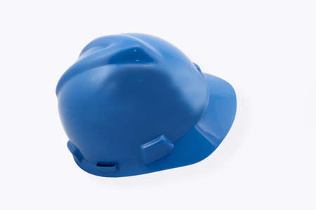 Blue Hardhat Isolated On White Stock Photo