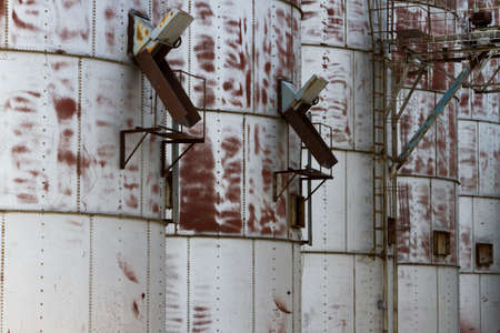 Close-Up Detail Of Old Grain Bins Stock Photo