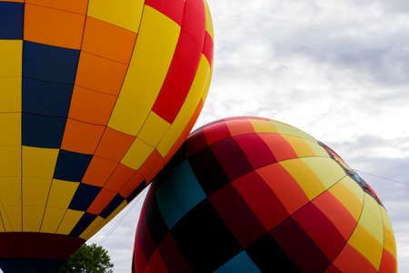 Two Colorful Hot-Air Balloons