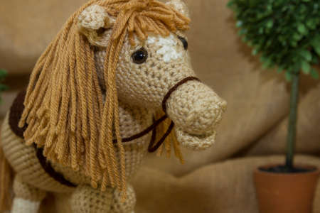 Close-Up Of Handmade Toy Horse Stock Photo