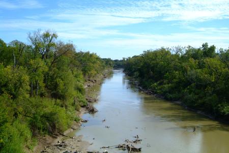 Flowing river between Levees