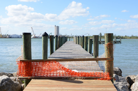 Old Weathered Pier Closed for Repair