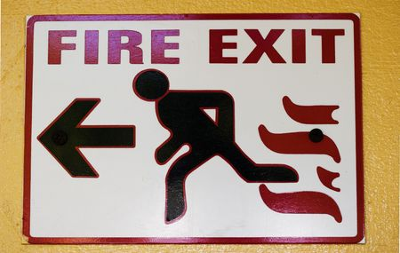 fire exit sign: Fire exit sign with man running
