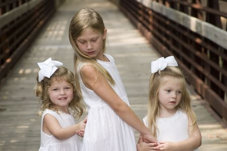 Twin Sisters and older sister Banco de Imagens
