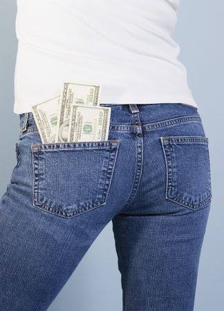 100 dollar bills in back jeans pocket Stock Photo - 511330