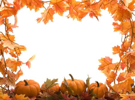 Pumpkins on white background with fall leaves frame Stock Photo - 555154