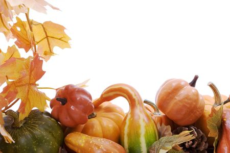 harvests: Pumpkins on white background with fall leaves frame