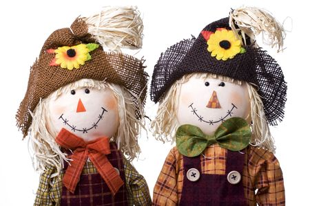 Cute boy and girl scarecrows