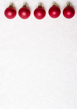 red ornament on white swirl background photo