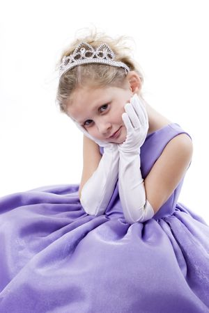 A cute little girl dressed up as a princess with tiara Stock Photo