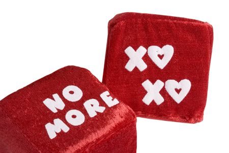 Two red dice love and kisses and no more Stock Photo