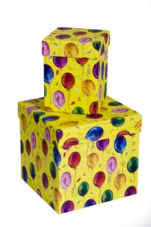 Two colorful gift boxes with balloon decoration photo