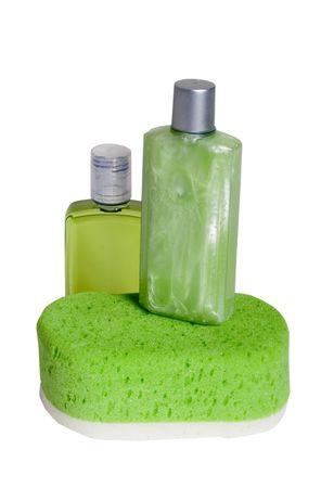 soften: Spa beauty kit - bottles of lotions and sponge Stock Photo