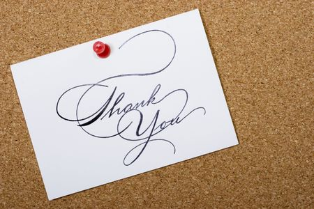 personalized: Bulletin board with thank card and copy space for your personalized message Stock Photo
