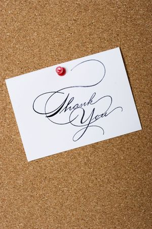 pin board: Bulletin board with thank card and copy space for your personalized message Stock Photo