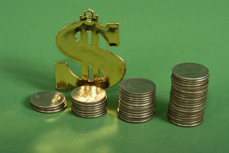 compounding: A dollar sign with a row on coins