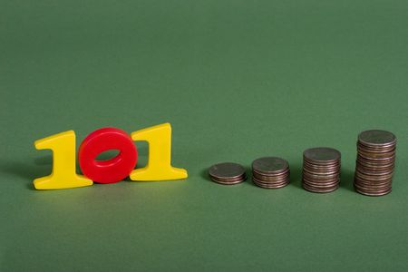 compounding: A row of coins the numbers 101