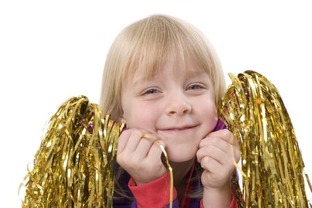 pom poms: A young cheerleader with her pom poms