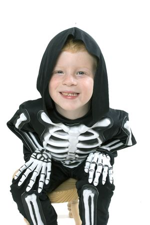halloween skeleton: Happy young boy with skeleton costume