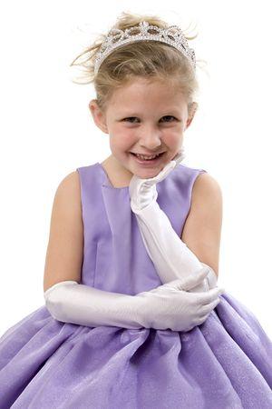 princesa: Una linda ni�a vestida como una princesa con tiara