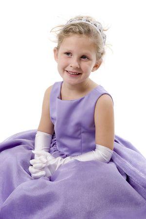 princess dress: A cute little girl dressed up as a princess with tiara